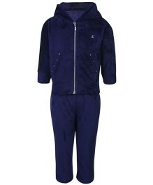 Kanvin Fleece Hooded T-Shirt And Leggings Set - Navy Blue