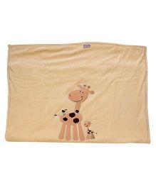 Tinycare Baby Blanket Beige - Giraffe Embroidery