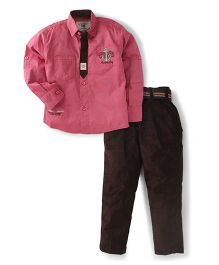 Active Kids Wear Shirt And Trouser Set Embroidered Patch - Pink