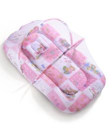 Babyhug Mosquito Net With Mattress And Pillow Pink - Multi Print