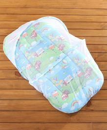 Babyhug Mosquito Net With Mattress And Pillow - Blue And Green