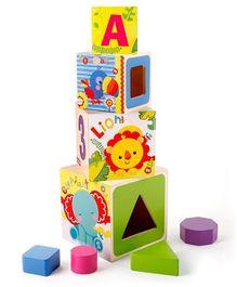 Fisher Price Shape Sorter Stacking Blocks - Wooden Toy