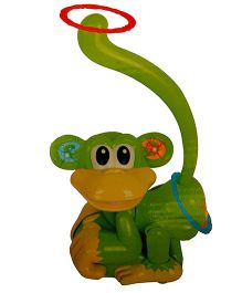 Adraxx Hip Swaying Musical Monkey Toy With Ring Toss Game - Green