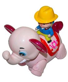 Adraxx Little Elephant Toy With Rodeo Rider - Pink