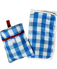 Kadambaby Diaper Changing Mat And Case Set Checks Print - Blue