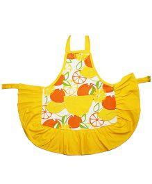 Kadambaby Kids Apron Fruits Print - Yellow