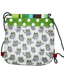 Kadambaby Canvas Drawstring Bag With Owl Print - White