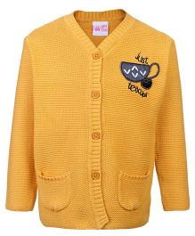 FS Mini Klub Front Open Sweater Yellow - Tea Cup Patch