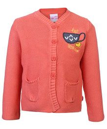 FS Mini Klub Front Open Sweater Coral - Tea Cup Patch