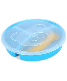 Little's 3 Section Divided Plate With Lid Fork And Spoon - Blue