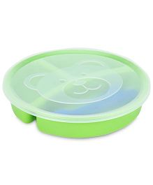 Little's 3 Section Divided Plate With Lid Fork And Spoon - Green