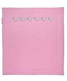Taftan Small Quilt Silver Heart Pink