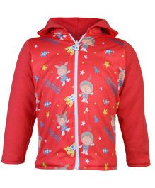 Tappintoes Full Sleeves Jacket Space Print - Red