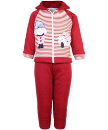 Tappintoes Full Sleeve Hooded Winter Wear Suit - Red