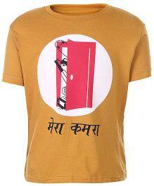 Sabudana Half Sleeves T-Shirt Mera Kamra Print - Yellow