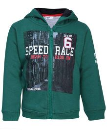 Beebay Full Sleeves Hooded Sweat Jacket Green - Speed Race Print