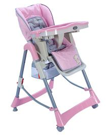 High Chair Pink And White - Elephant Embroidery