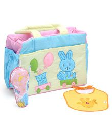 Duck Diaper Bag With Bottle Cover And Bib - Yellow And Blue