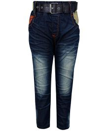 Noddy Full Length Jeans With Belt - Navy Blue