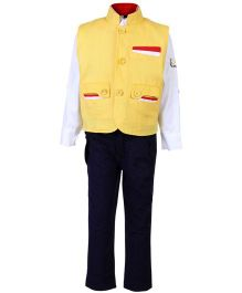 Noddy Full Sleeves Shirt And Trouser With Jacket  - Yellow And Navy Blue