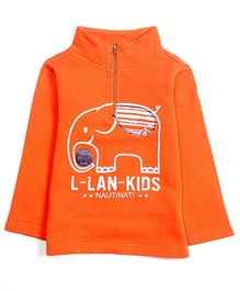Nauti Nati Full Sleeves Sweatshirt Orange - Elephant Print