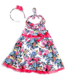 Nauti Nati Halter Dress Floral Print With Hairband - Multicolour