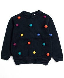 Nauti Nati Full Sleeves Sweater With Pom Pom - Oxford Blue