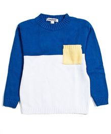 Nauti Nati Full Sleeves Sweater - Blue And Ecru