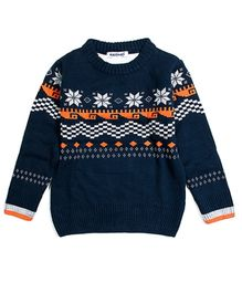 Nauti Nati Full Sleeves Printed Sweater - Navy Blue