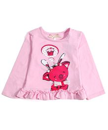 Nauti Nati Frill Hem Top Cupcake Piggy Print - Pink