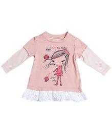 Nauti Nati Full Sleeves Tee Little Miss Shopaholic Graphic Print - Peach