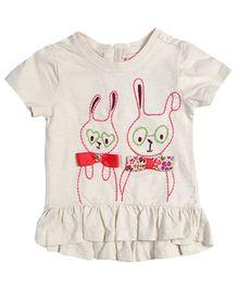 Nauti Nati Short Sleeves Top - Bunny Pals Embroidery