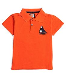 Nauti Nati Polo Tee Preppy Sailors Patch - Orange