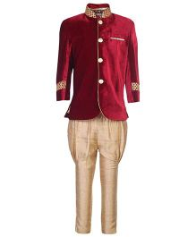 Little Bull Full Sleeves Kurta And Jodhpuri Pajama Set - Maroon And Cream