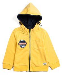 Nauti Nati Full Sleeves Hoodie Jacket Embroidered Badge - Yellow