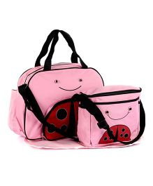 Fab N Funky Mother Bag Set Ladybird Face - Pink And Red