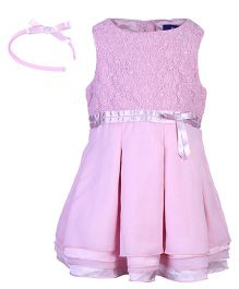 Nauti Nati Sleeveless Georgette Dress With Hair Band - Pink