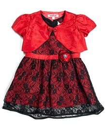 Nauti Nati Spanish Princess Lace Dress With Shrug - Red And Black