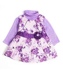 Nauti Nati Sleeveless Dress With Inner T-Shirt Floral Print - Lilac