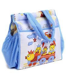 Duck Mother Bag White And Sky Blue - Teddy Print