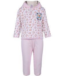 Pink Rabbit Hooded T-Shirt And Legging - Teddy Print