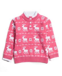 Nauti Nati Full Sleeves Sweater Reindeer Print - Pink And White