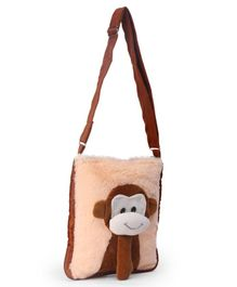 IR Soft Fur Shoulder Bag Cream - Monkey Applique