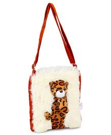 IR Soft Fur Shoulder Bag Leopard Applique (Color May Vary)
