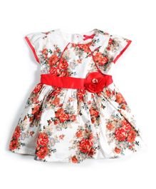 Nauti Nati Paneled Bodice Floral Dress With Satin Waistband - Red