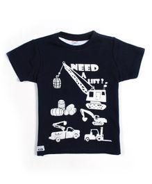 Nauti Nati Half Sleeves T-Shirt Navy Blue - Graphic Print
