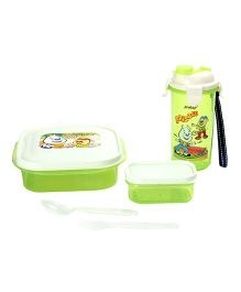 Pratap Hungry Time Lunch Box Kit - Green And White