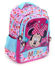 Minnie Mouse School Bag Printed - Pink And Blue