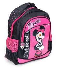 Disney Minnie Mouse Printed School Bag Pink And Black - 13 Inches
