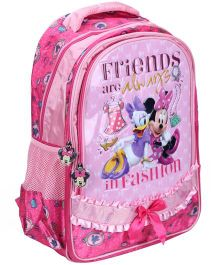 Minnie Mouse School Bag Friends Print Light Pink - 17 Inches